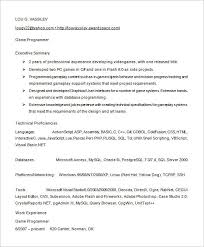 Programmer Resume Examples Resume And Cover Letter Resume And