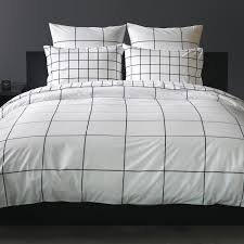 grid black duvet cover