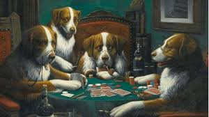 dogs playing series original painting fetches 658 000 at auction flushdraw net
