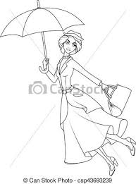 coloring book mary poppins a novel character flying on umbrella csp43693239