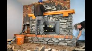 covering brick fireplace with tile ideas cost to build stacked stone veneer stepbystep diy installation on