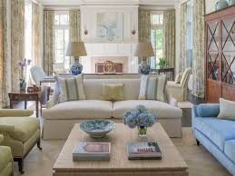 Living room in soft blues & greens - Greenwich House - Phoebe Howard