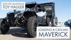 new 2019 atc aluminum toy hauler loading can am sun city rv phoenix