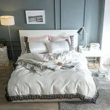 silk cottonlace girls bedding set king queen size double grey blue green pink white duvet cover