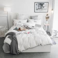 white grey pink 100 cotton embroidery bedding set twin queen king size duvet cover bed fit sheet set pillowcase soft bedclothes white duvet cover teal