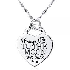925 sterling silver i love u to the moon and back moon heart pendants necklace
