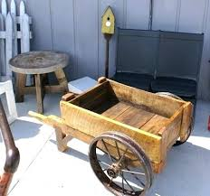 wooden garden wagon wheels cart newly made from old with lid and for hose handle storage