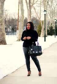 plus size all black outfit idea faux leather pants curvy fashion blog
