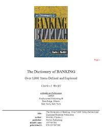 Pdf The Dictionary Of Banking Over 5 000 Terms Defined And
