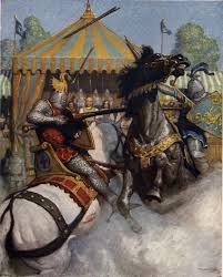 lancelot  n c wyeth s illustration for the boy s king arthur sir mador s spear brake all to pieces but the other s spear held