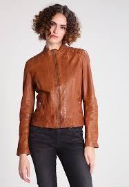 soft leather jacket women cognac orange boss janabelle