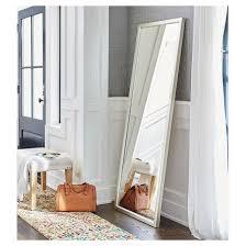 Delighful White Leaning Floor Mirror Leaner Silver Threshold A On Modern Design