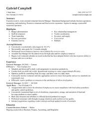 example of restaurant resume general manager food restaurant resume example standard 463 x 600