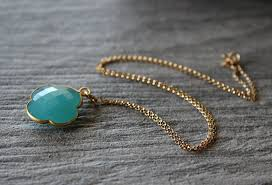 aqua chalcedony quatrefoil pendant necklace clover gemstone 14k gold filled aqua chalcedony jewelry bygerene