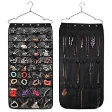 hanging jewelry organizer double sided 40 pockets and 20 magic tape hook storage bag closet storage for earrings necklace brac uk 2019 from qiufenshi