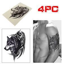 4pcs Large Wolf Head Waterproof Temporary Removable Tattoo Body Arm Leg Art Sticker Creative Product