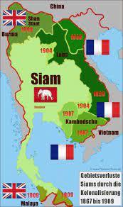 Thailand History Map: Siam Gebietsverluste Kolonialisierung 1867-1909