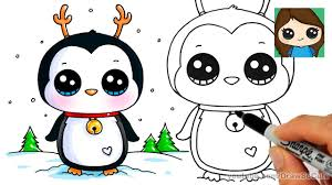 cute christmas penguin drawing. Delighful Christmas How To Draw A Cute Penguin For Christmas Easy To Drawing
