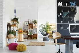 modern pallet furniture. Modern Office With Bright Relax Zone Pallet Furniture Stock Photo - 79257518