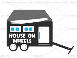 Small Picture House on wheels logo India Tiny House design company logo high
