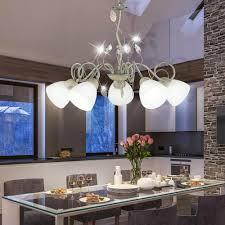 Landhaus Stil Glas Strahler Hänge Deckenleuchte Schlafzimmer