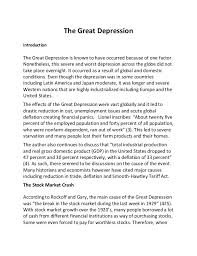the great depression the great depression introduction the great depression is known to have occurred because of one factor