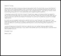 Letter Of Recommendation For A Dentist Dentist Recommendation Letter Example Letter Samples