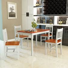 gymax 5 piece dining table set 4 chairs solid wood home kitchen breakfast furniture as