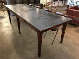 zinc top dining table home design planning also classy zinc metal top dining table extendable modern