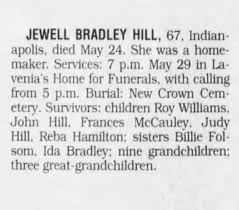 Obituary for BRADLEY HILL JEWELL (Aged 67) - Newspapers.com