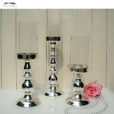 large candle holders new metal silver finish candle holders with glass stand pillar candlestick for wedding
