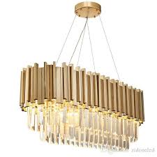 luxury oval modern crystal chandelier irregular gold stainless steel pendant lamp clear crystal hanging light fixture for living room pendant lighting