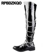 metalic embellished waterproof pointed toe knee high runway punk chunky zipper shoes 2018 tall mens black patent leather boots boots shoes ankle boots for