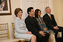 the kite runner  first lady laura bush khaled hosseini first and second to the left bush praised the kite runner as really great