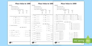 Timetables Chart Up To 1000 Place Value To 1000 Differentiated Number Worksheet