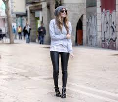 rebel attitude blogger grey sweater ankle boots leather pants sweater pants shoes