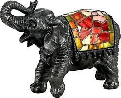 quoizel elephant tiffany style stained glass night light lamp tfx839y new