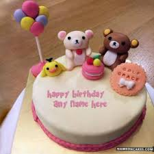 Sweet Kids Birthday Cakes With Name Hbd Wishes