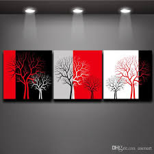 red black white three colors tree picture oil painting prints on canvas mural art home living office wall decor canada 2019 from asenart