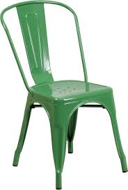 green metal indoor outdoor stackable chair