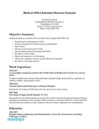 Entry Level Medical Receptionist Resume Examples Medical Assistant