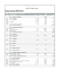 Construction Bid Proposal Samples Bid Estimate Form Construction