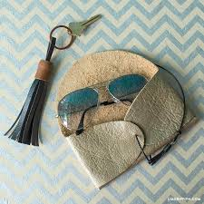 diy metallic leather sunglasses case with a leather cord via liagriffith com