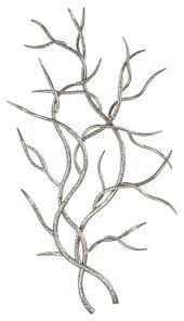 modern silver branch wall art set 2
