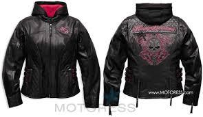 harley davidson women s scroll skull leather motorcycle jacket motoress
