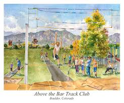 boulder painting above the bar track club poster by anne gifford