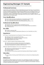 Resume Core Competencies Examples Magnificent Engineering Manager CV Sample MyperfectCV