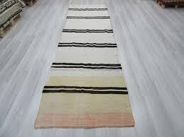 lovely striped runner rug with handwoven vintage black and white striped turkish hemp kilim