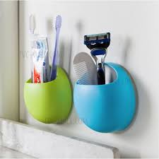 home bathroom toothbrush wall mount holder strong er suction cups organizer blue 2