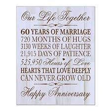 60th wedding anniversary wall plaque gifts for couple 60th anniversary gifts for her 60th